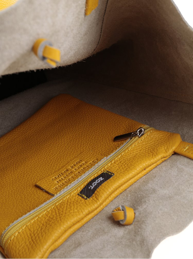 Geanta shopper galbena din piele - ZOOT Simple