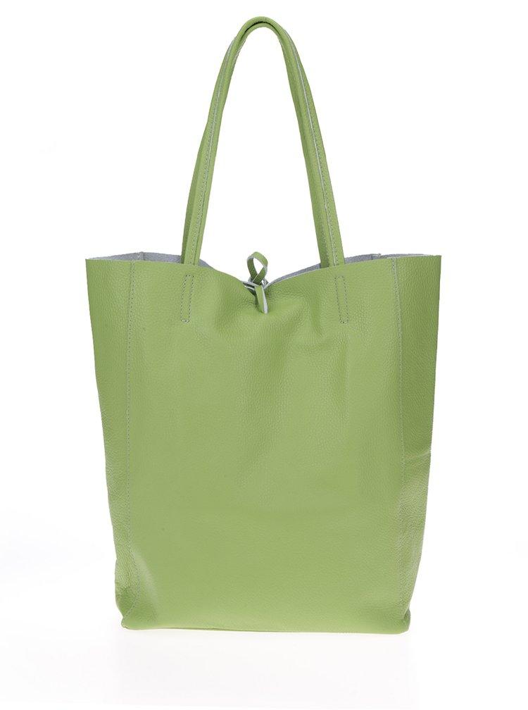 Geantă verde shopper din piele ZOOT Simple