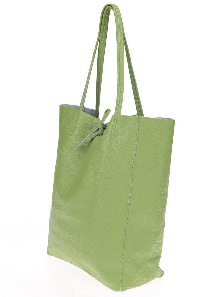 Světle zelený kožený shopper ZOOT Simple