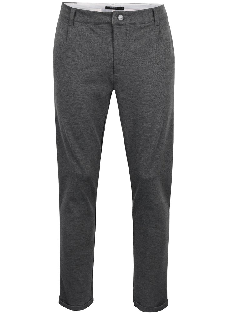 Šedé žíhané chino kalhoty ONLY & SONS Solid