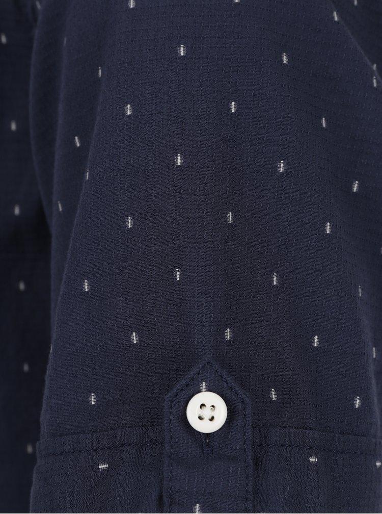 Cămașă bleumarin cu buline mici și mâneci scurte s.Oliver