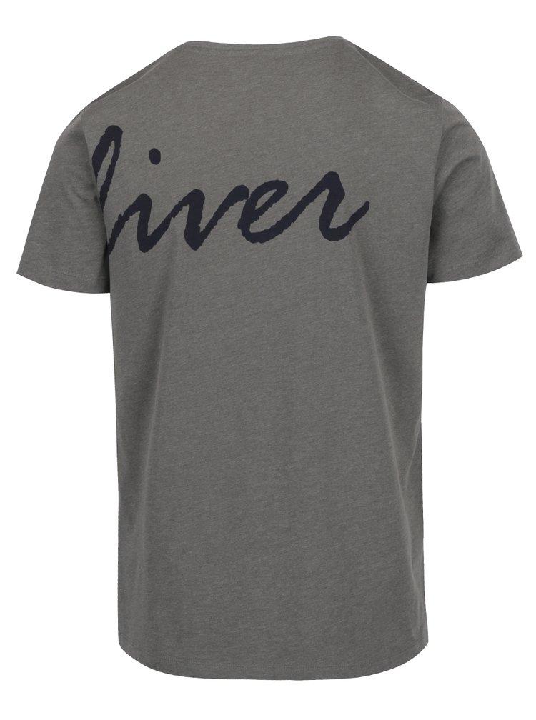 Šedé pánské slim fit triko s potiskem na přední i zadní straně s.Oliver