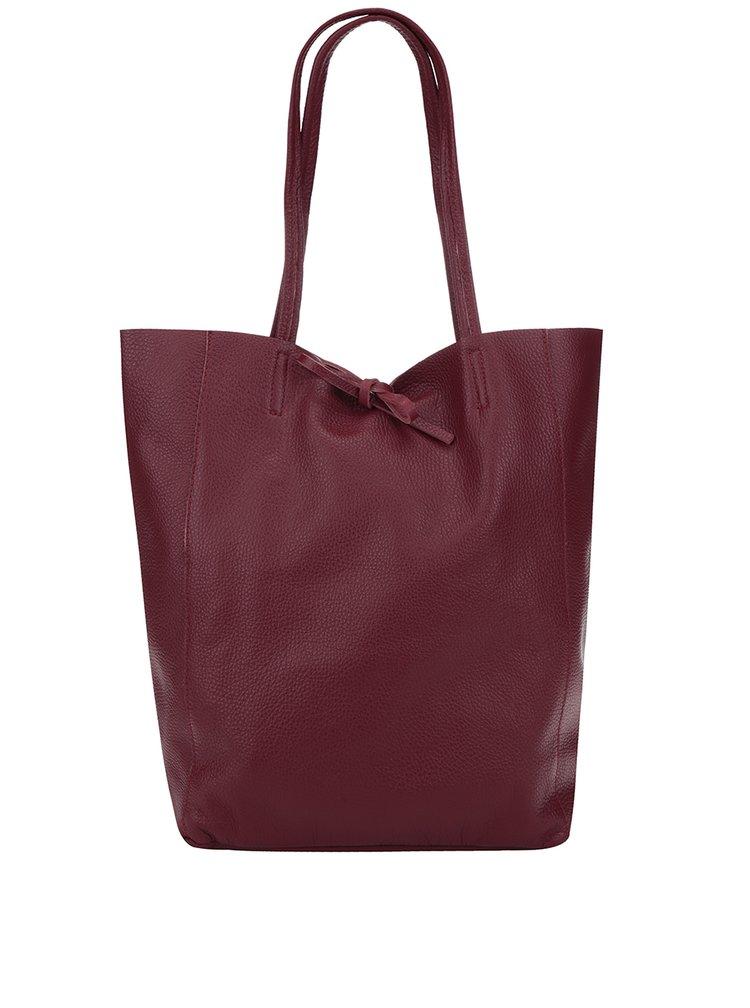 Vínový kožený shopper ZOOT Simple