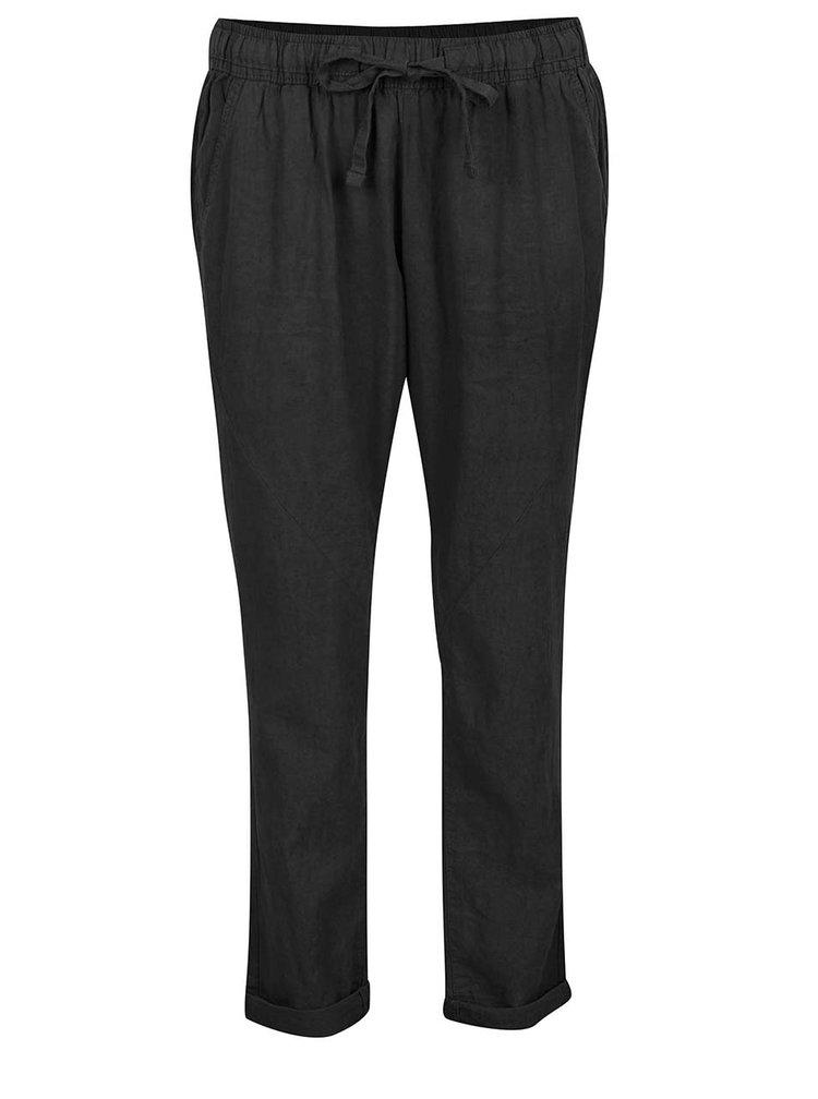 Černé dámské volné lněné kalhoty s pružným pasem QS by s.Oliver