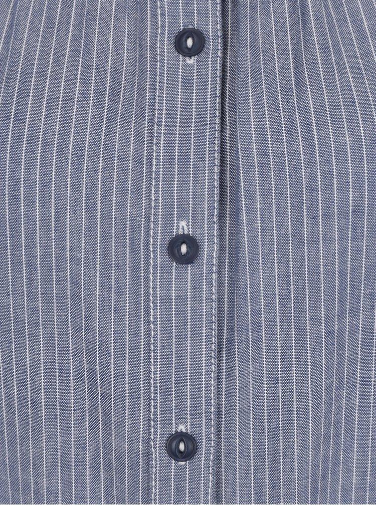 Modré volné pruhované šaty s odhalenými rameny QS by s.Oliver
