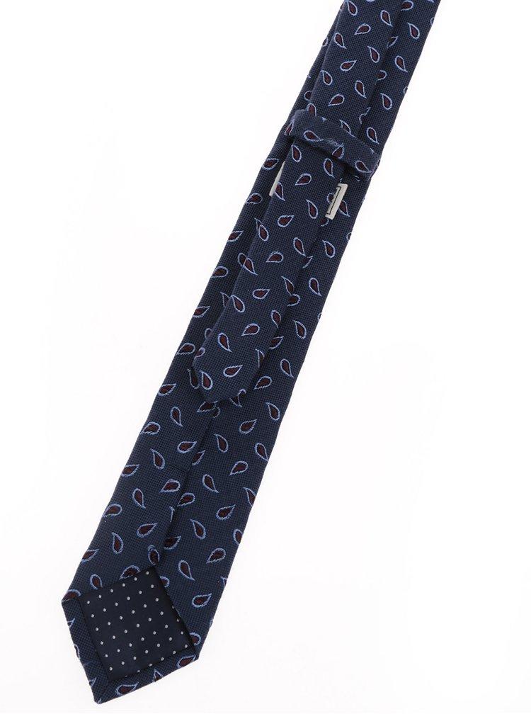 Cravata albastra Jack & Jones Premium Milano din matase naturala
