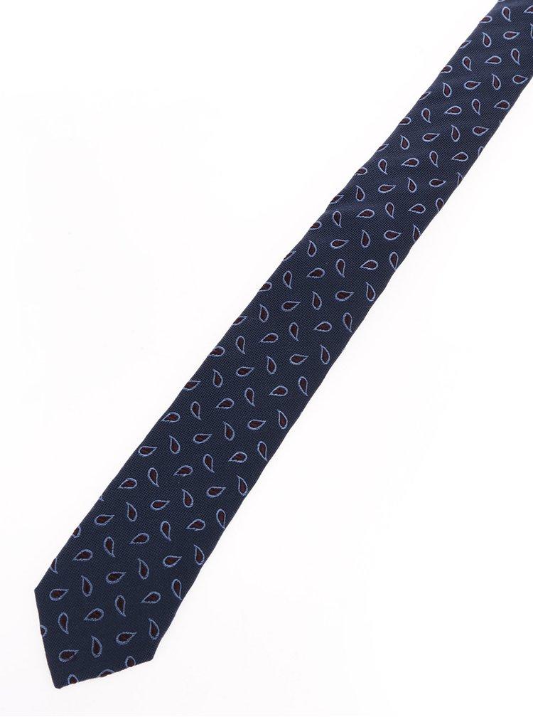 Tmavě modrá vzorovaná hedvábná kravata Jack & Jones Premium Milano