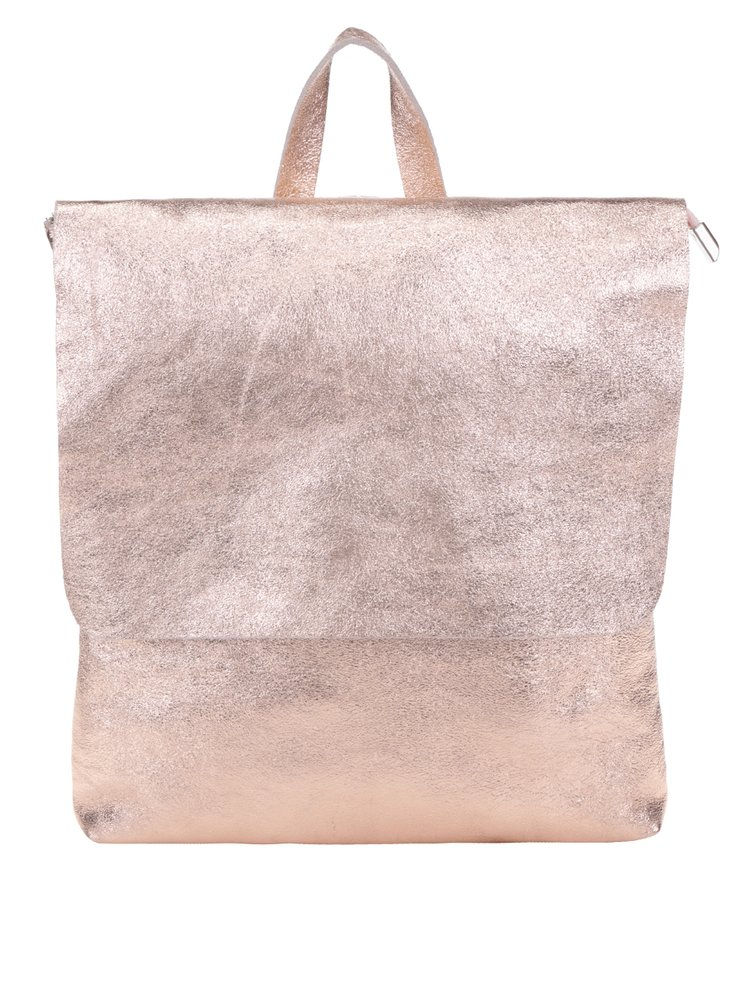 Růžový lesklý dámský kožený batoh ZOOT