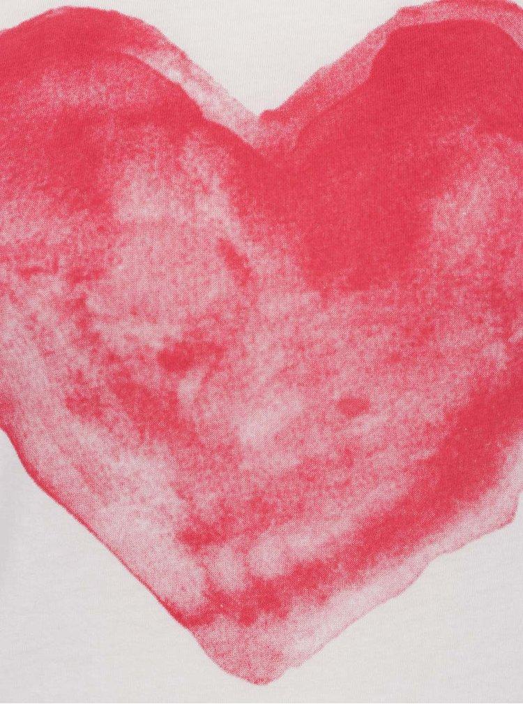 Tricou bej cu print rosu cu inima ONLY Bone