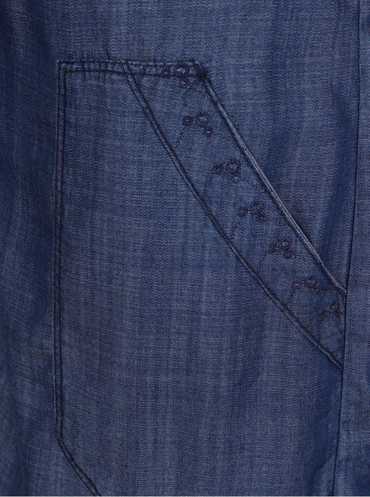 Modré dámské volné džínové šaty s páskem s.Oliver