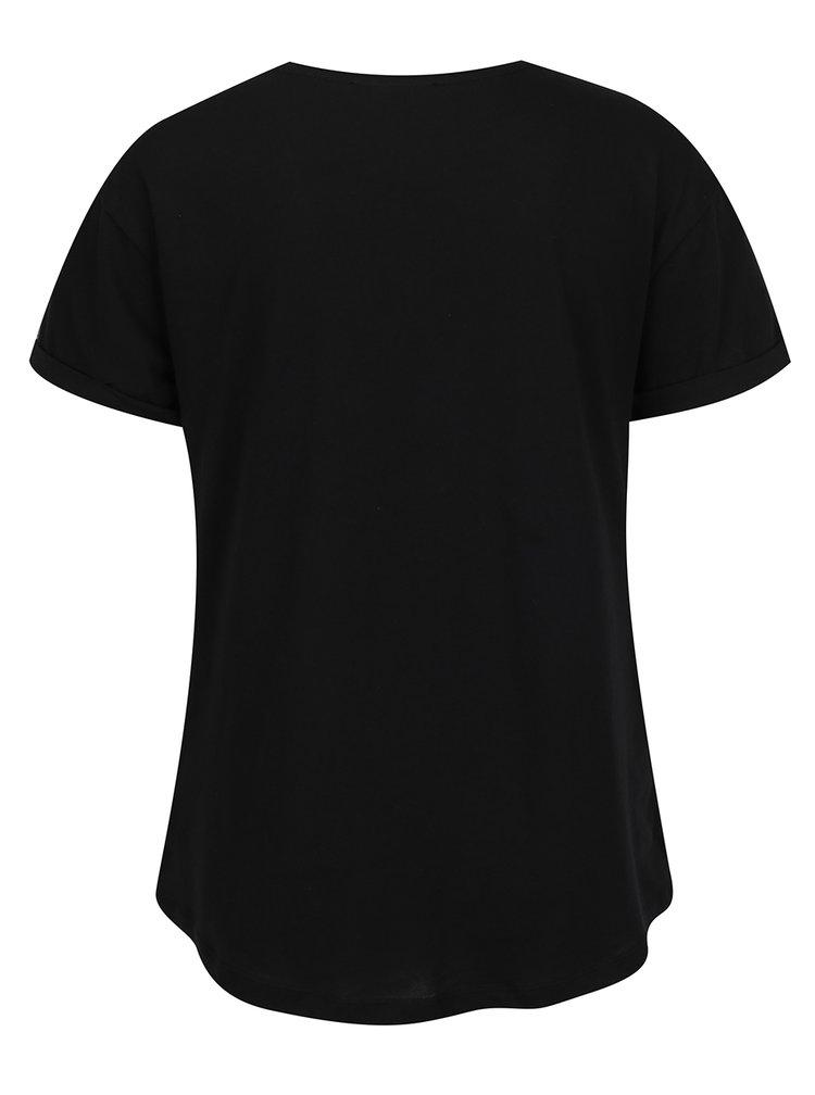 Tricou negru cu buzunar si print TALLY WEiJL