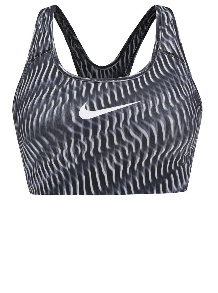 Bustier sport alb&negru Nike Pro Classic cu logo printat