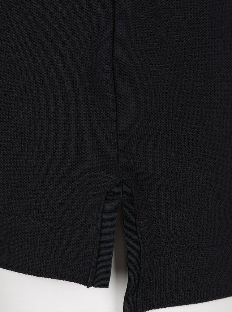 Tricou negru cu guler rotund si nasturi Nike