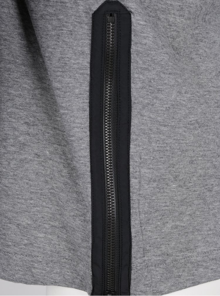 Šedá pánská mikina se zipem na levém boku Nike Modern