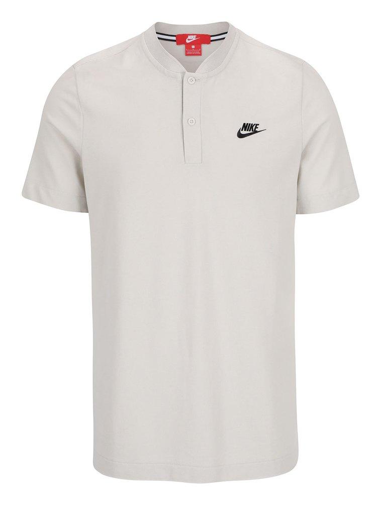 Tricou alb cu guler rotund si nasturi Nike