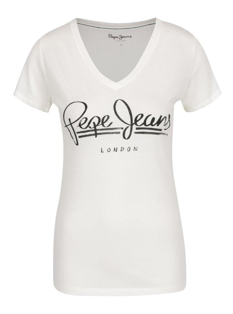 Krémové dámské tričko s potiskem Pepe Jeans Brenda