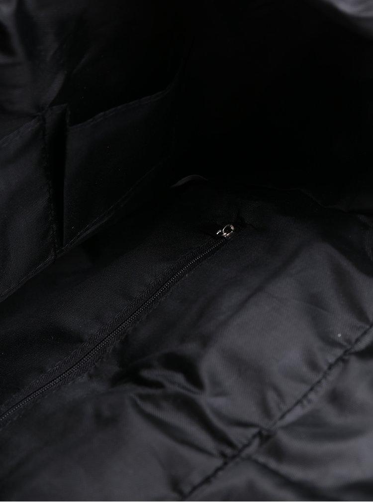 Bílo-černý dámský vzorovaný plátěný batoh s hnědými popruhy ZOOT