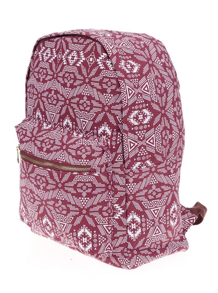 Bílo-vínový dámský vzorovaný plátěný batoh ZOOT