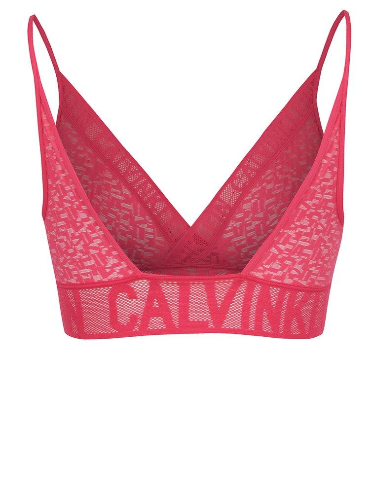 Sutien roz cu print logo Calvin Klein