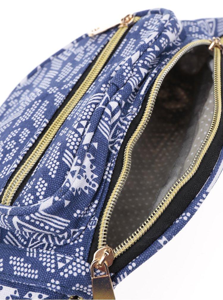 Borseta albastru& alb ZOOT cu imprimeu de inspiratie etnica