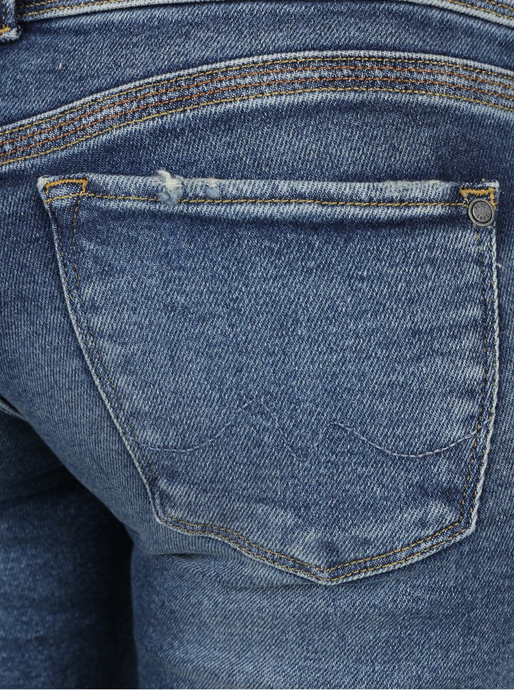 Blugi slim albastri Pepe Jeans Vera cu aspect prespalat