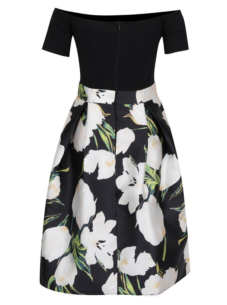 Černé šaty s květovanou sukní a pružným topem AX Paris
