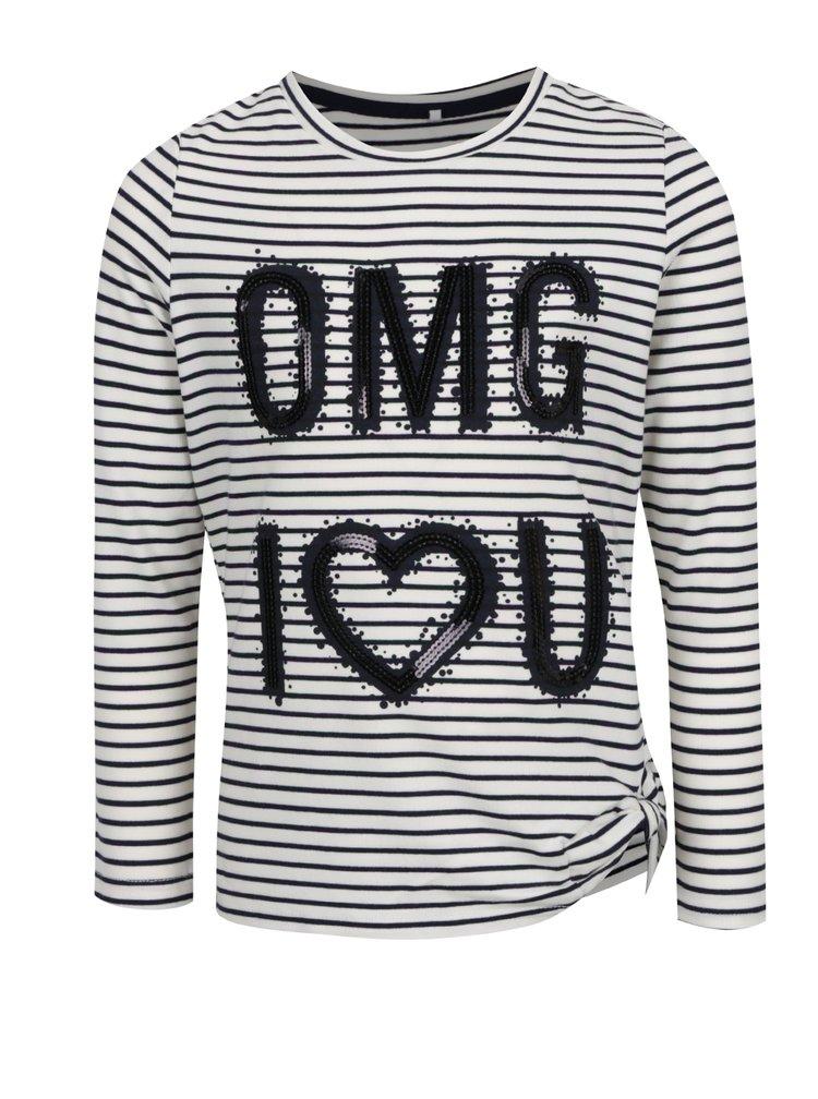 Krémové holčičí pruhované tričko s flitry name it Haily