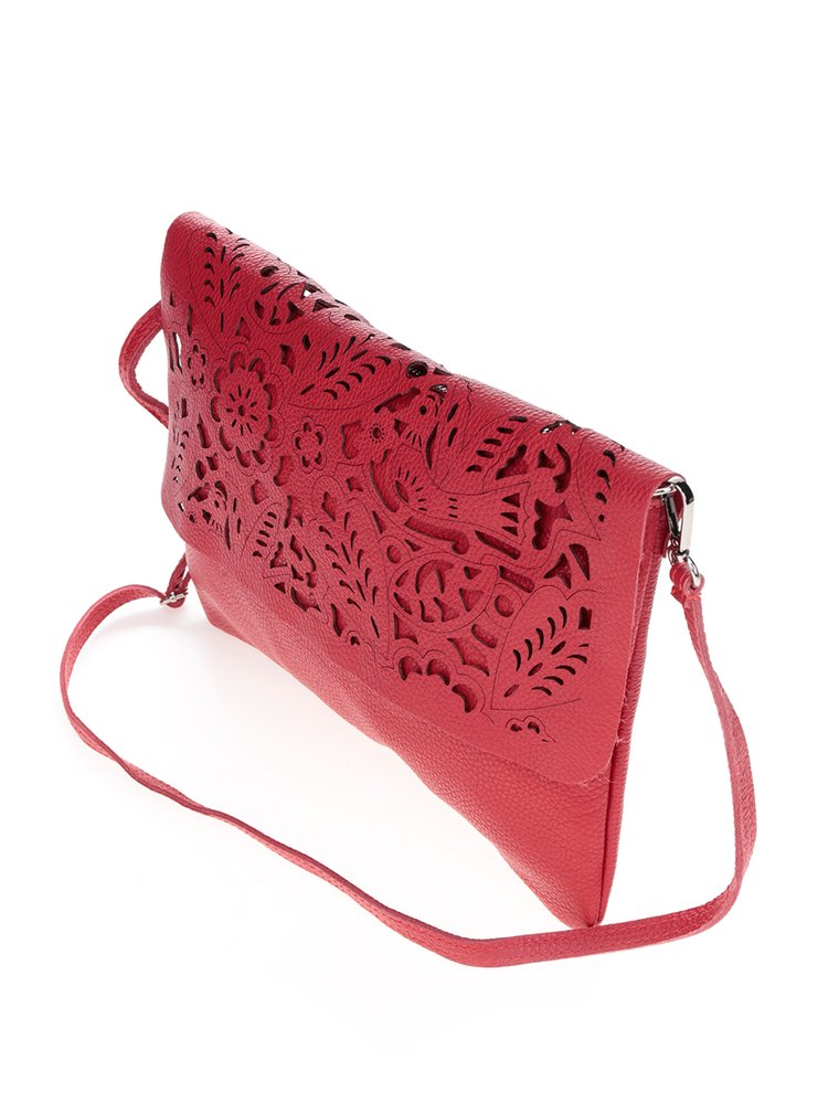 Červená kožená perforovaná crossbody kabelka ZOOT