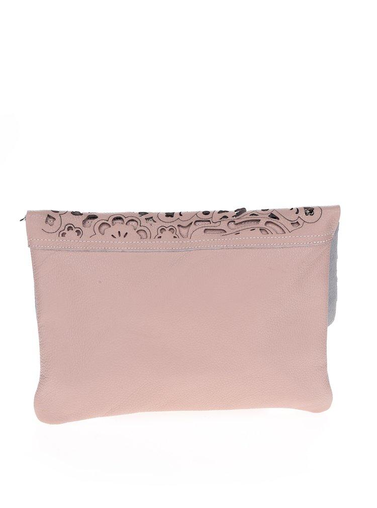 Geanta roz prafuit crossbody din piele ZOOT cu perforatii