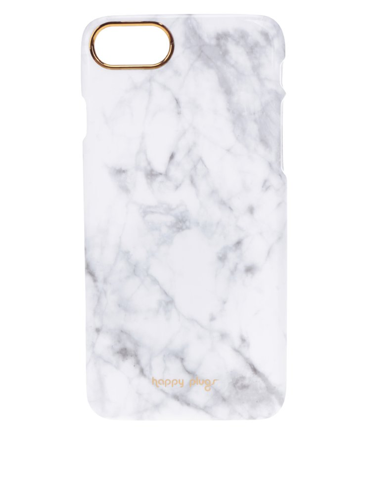Bílý ultratenký obal s mramorovým vzorem na iPhone 7 Happy Plugs