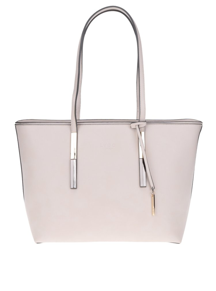Béžová kabelka s detaily ve zlaté a stříbrné barvě LYDC