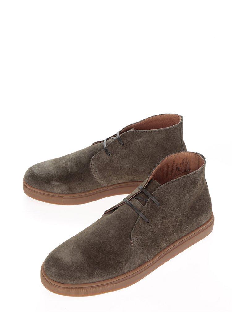 Khaki semišové kotníkové boty Selected Homme Dempsey