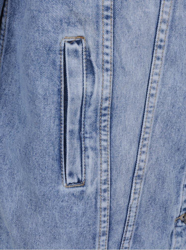 Modrá dlouhá džínová bunda s potrhaným efektem Haily´s Sinaly