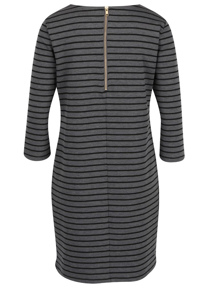 Čierno-sivé pruhované šaty s 3/4 rukávom VILA Tinny