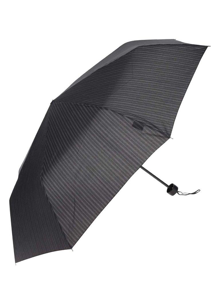 Umbrelă neagră cu dungi albe Derby