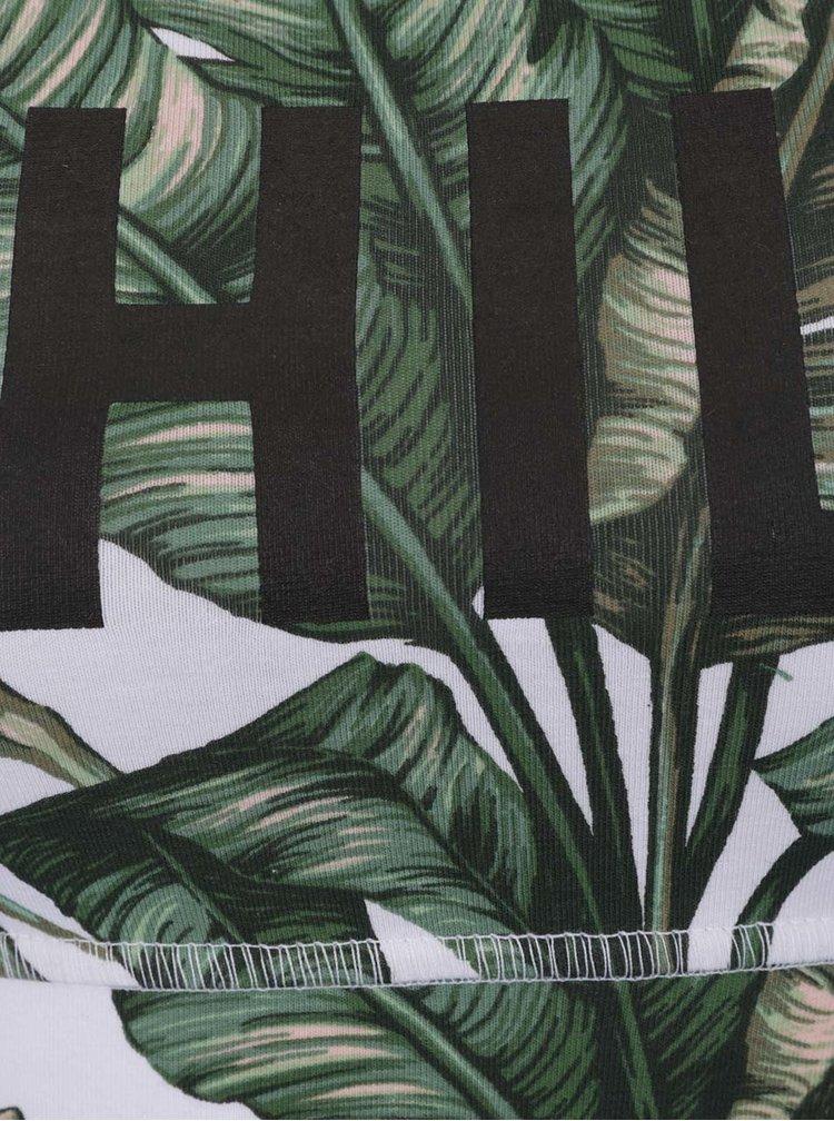 Bustier sport alb&verde cu model floral și text print TALLY WEiJL