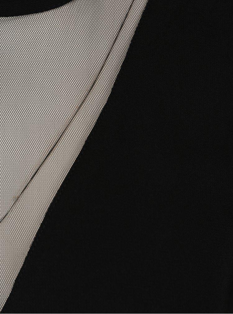 Černá volná halenka s průsvitným detailem v dekoltu VILA Meller