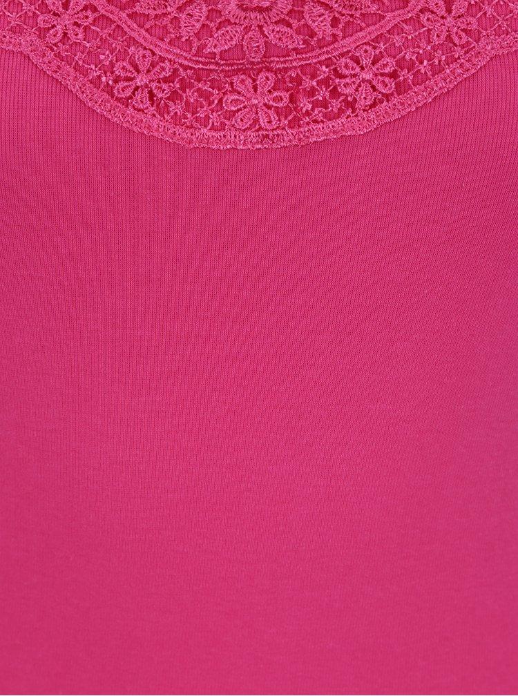 Růžové tílko s krajkou v dekoltu VERO MODA New Ratli