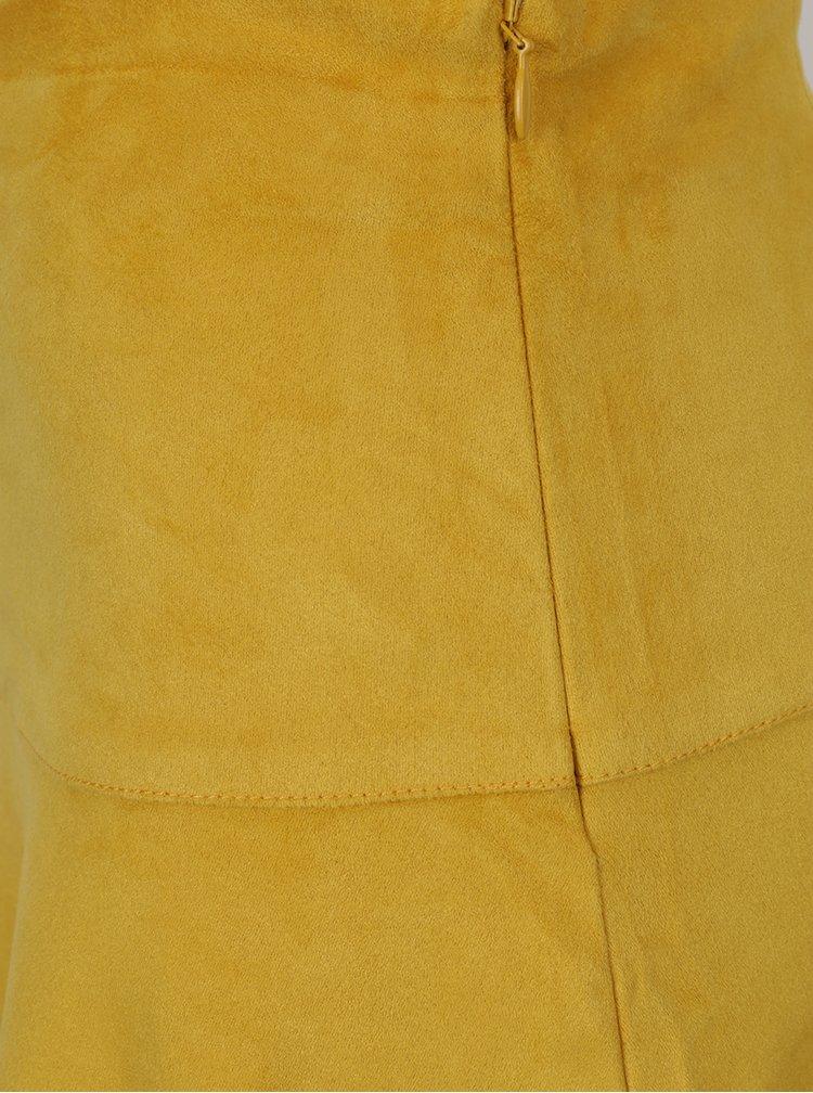 Žlutá minisukně v semišové úpravě VILA Then