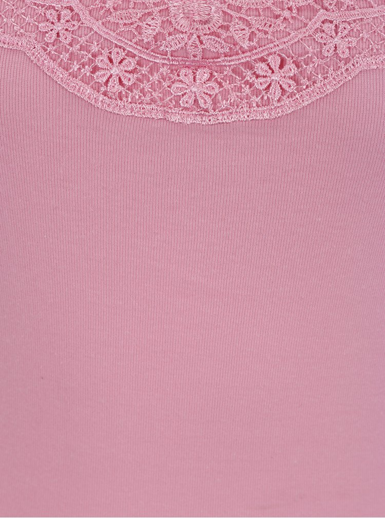 Světle růžové tílko s krajkou v dekoltu VERO MODA New Ratli