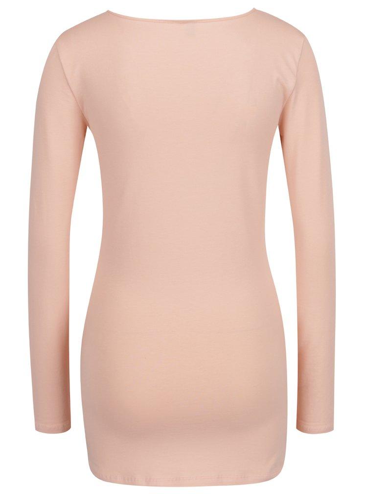Světle růžové dlouhé basic tričko s dlouhým rukávem VERO MODA Maxi My