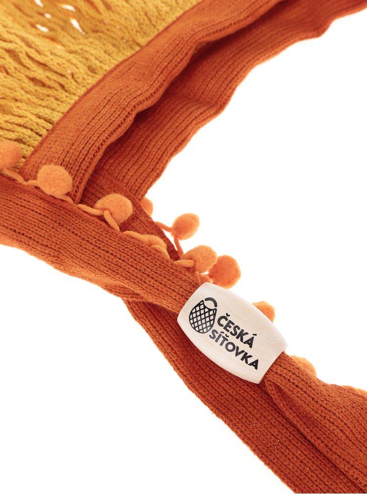 Žlto-oranžová Česká sieťovka s bambuľkami