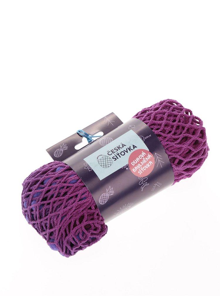 Ružovo-fialová Česká sieťovka s bambuľkami