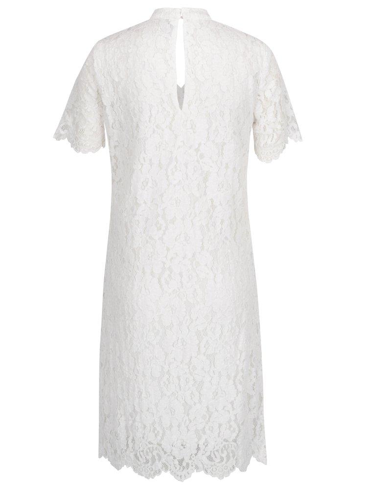 Krémové krajkové šaty s průstřihem v dekoltu VERO MODA Elvira