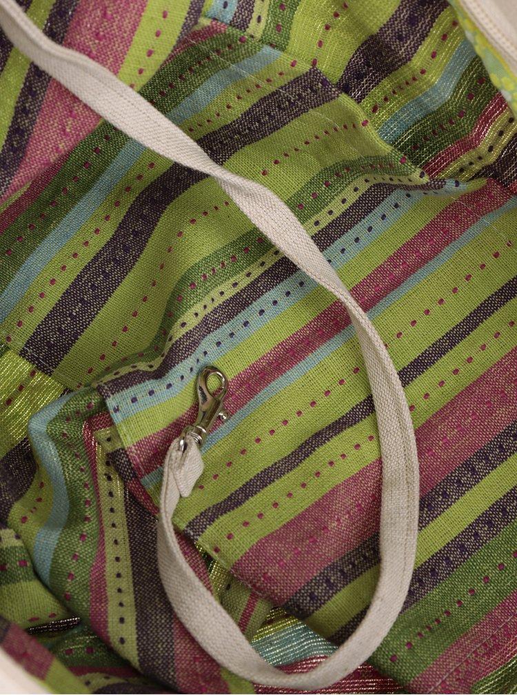 Zeleno-krémová síťová taška Česká síťovka Switch Bag