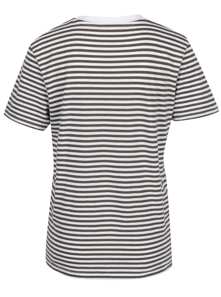 Krémovo-zelené pruhované tričko Selected Femme MyPerfect