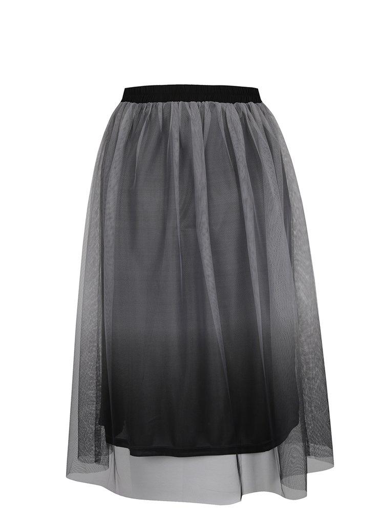 Černá polodlouhá sukně s lehkou síťkou ONLY Kima
