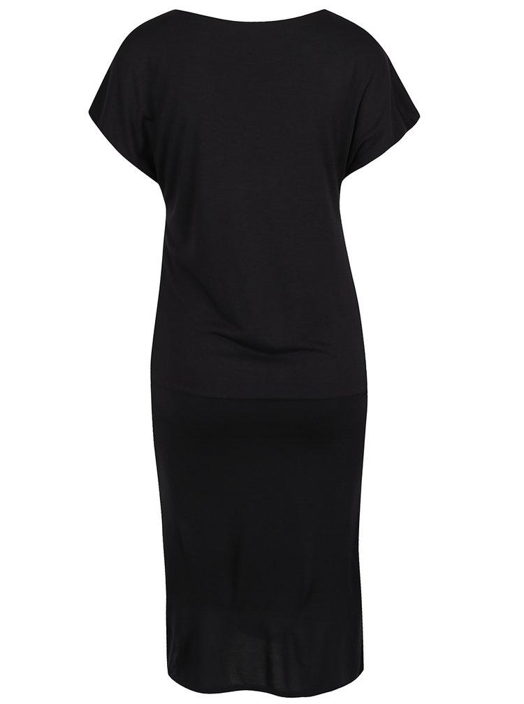 Černé teplákové šaty a jemným rozparkem ONLY Melanie