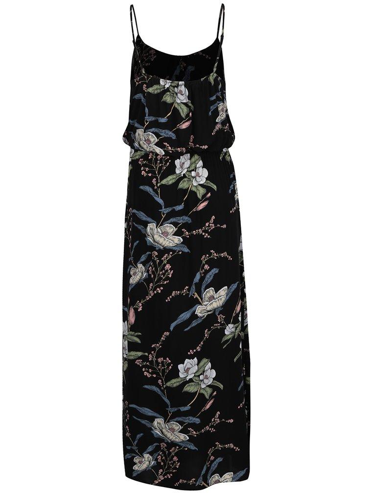 Rochie neagra ONLY Nova cu imprimeu floral si bretele