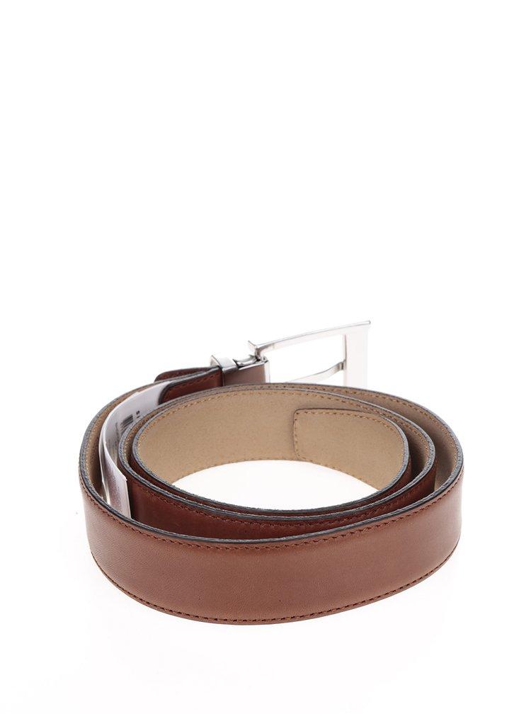 Hnědý kožený pásek s kovovou přezkou Selected Homme Belt